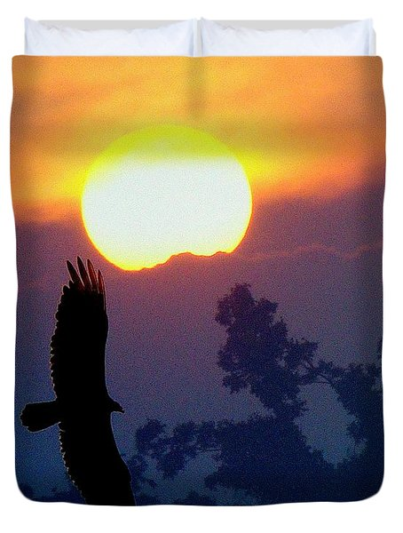 Duvet Cover featuring the photograph Gliding By The Sun by J R Seymour