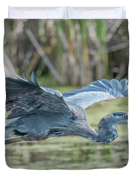 Gliding Over The Wetlands... Duvet Cover