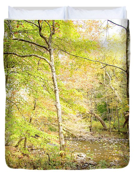 Glimpse Of A Stream In Autumn Duvet Cover