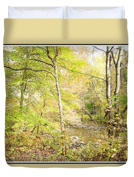 Glimpse Of A Stream In Autumn Duvet Cover by A Gurmankin