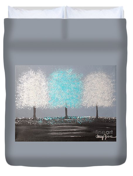 Duvet Cover featuring the painting Glistening Morning by Stacey Zimmerman