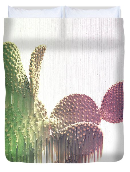 Glitch Cactus Duvet Cover