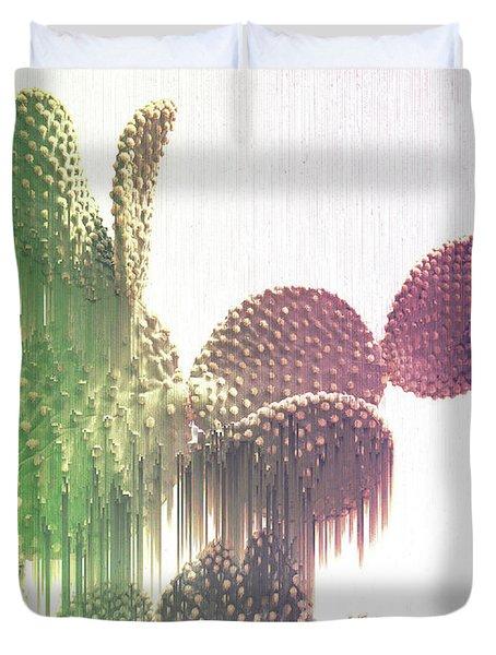Glitch Cactus Duvet Cover