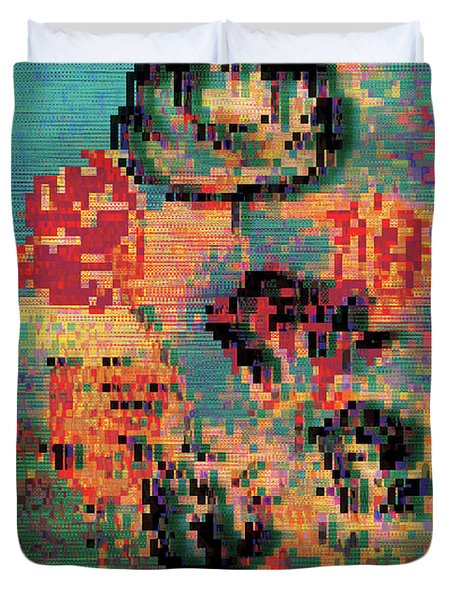 Glitched Tulips Duvet Cover