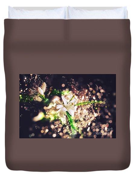 Glitter Blossoms Duvet Cover