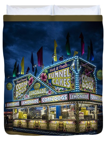 Glittering Concession Stand At The Colorado State Fair In Pueblo In Colorado Duvet Cover by Carol M Highsmith