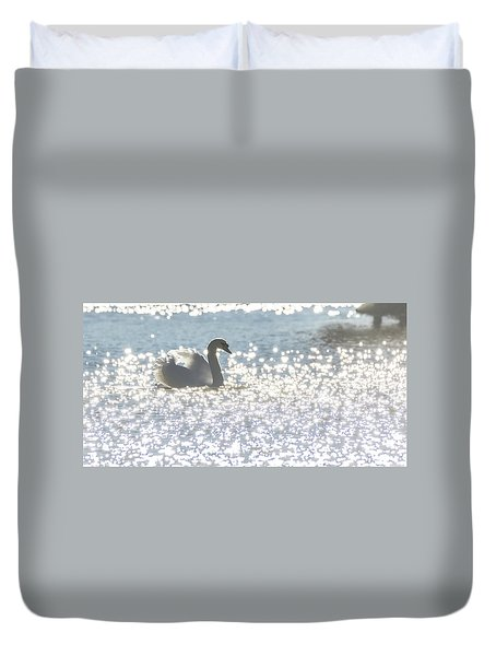 Glitz And Glamory Swan Duvet Cover