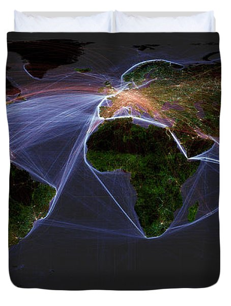 Global Transportation Map Duvet Cover by Felix PD and Globaia
