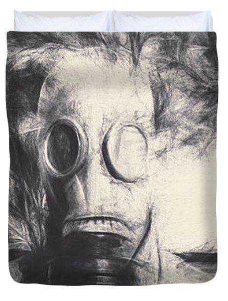 Vintage Gas Mask Terror Duvet Cover