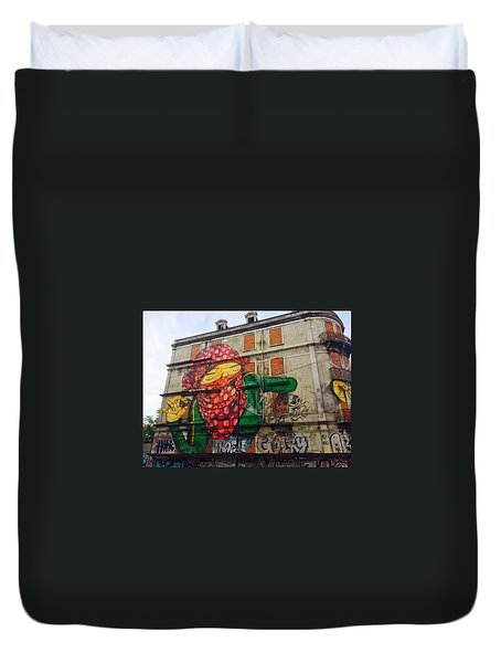 Duvet Cover featuring the painting Globe Building Art Painting by Sheila Mcdonald
