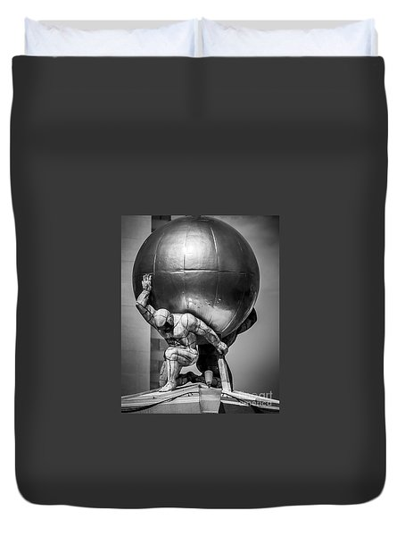 Globe Statue Duvet Cover by Perry Webster