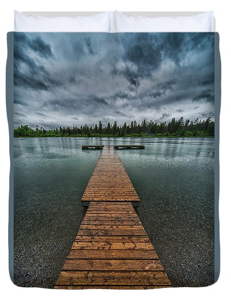 Duvet Cover featuring the photograph Gloomy Rainy Day On Norbury Lake by Darcy Michaelchuk