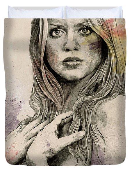 Gloria - Sexy Nude Woman Sketch Drawing, Tribute To Gloria Guida Duvet Cover