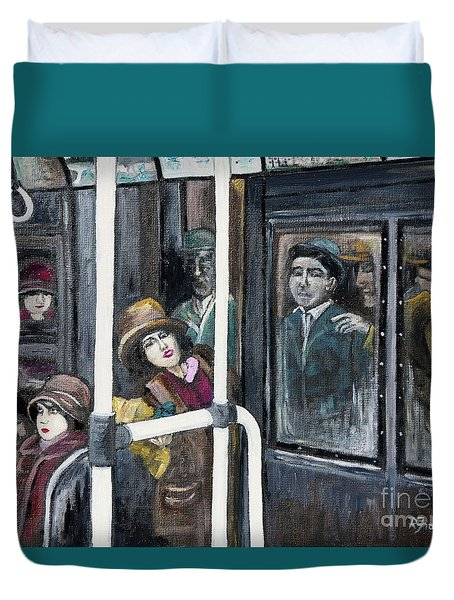 Gloria Swanson In Subway Scene From Manhandled Duvet Cover by Reb Frost