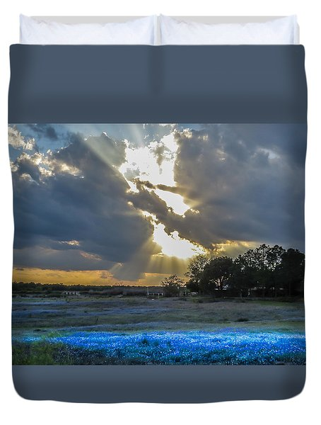 Da211 Glorious Bluebonnet Sunset By Daniel Adams Duvet Cover