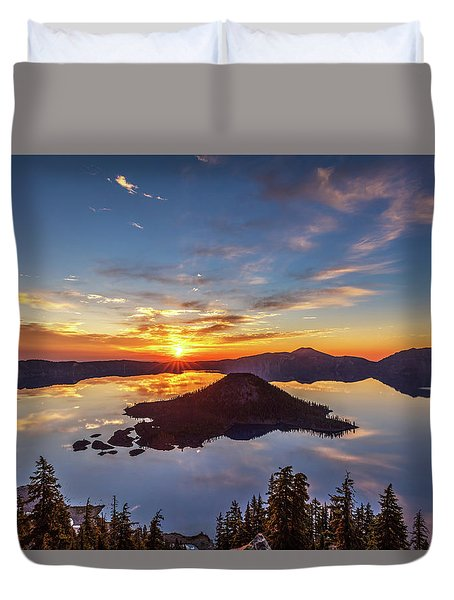 Duvet Cover featuring the photograph Glorious Crater Lake Sunrise by Pierre Leclerc Photography