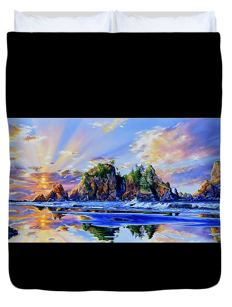 Duvet Cover featuring the painting Glorious Point Of The Arches by Hanne Lore Koehler