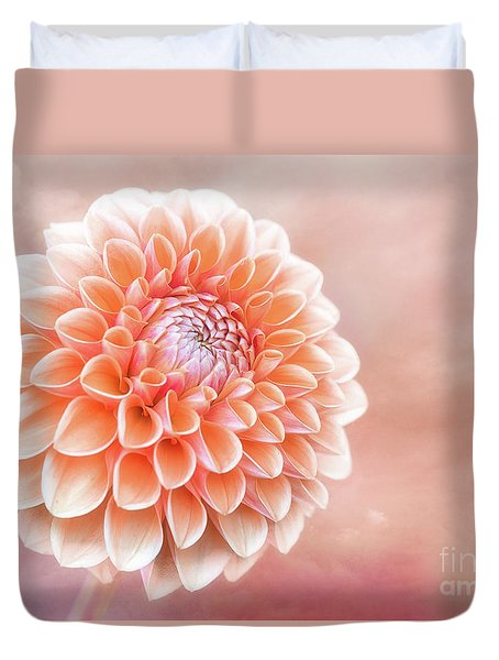 Glorious Salmon Dahlia Duvet Cover