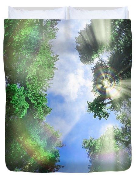 Glory Amongst Redwoods Duvet Cover