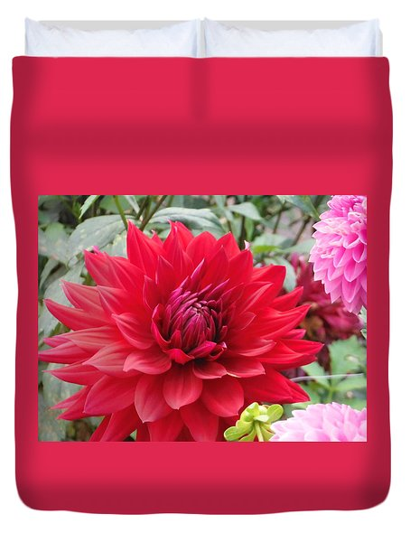 Glory Crimson Dahlia  Duvet Cover