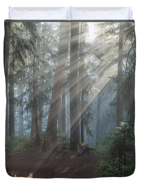 Duvet Cover featuring the photograph Glory In The Forest by Angie Vogel