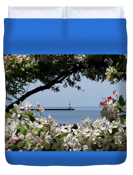 Glory Of Spring At The Waterfront Duvet Cover