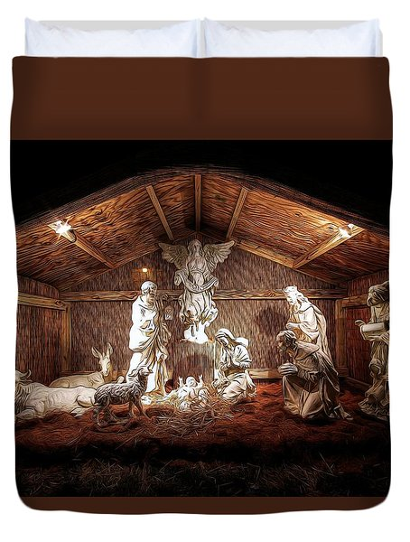 Glory To The Newborn King Duvet Cover by Shelley Neff