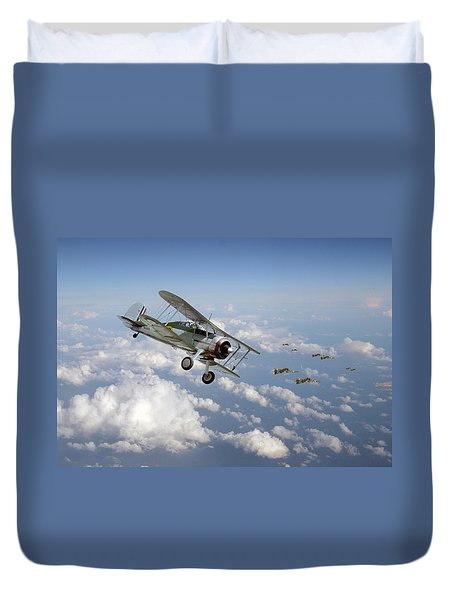 Duvet Cover featuring the digital art  Gloster Gladiator - Malta Defiant by Pat Speirs