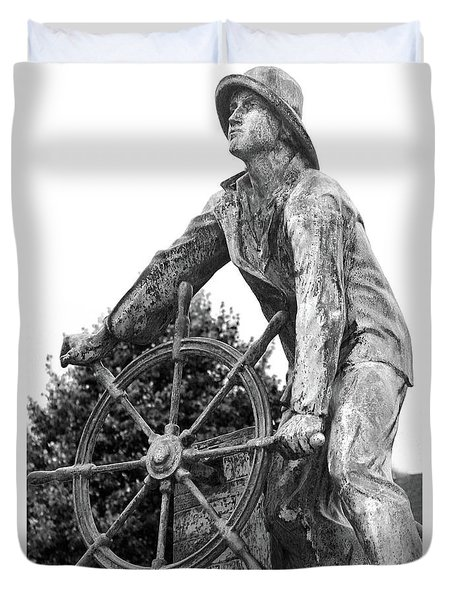 Duvet Cover featuring the photograph Gloucester Fisherman's Memorial by Mitch Cat