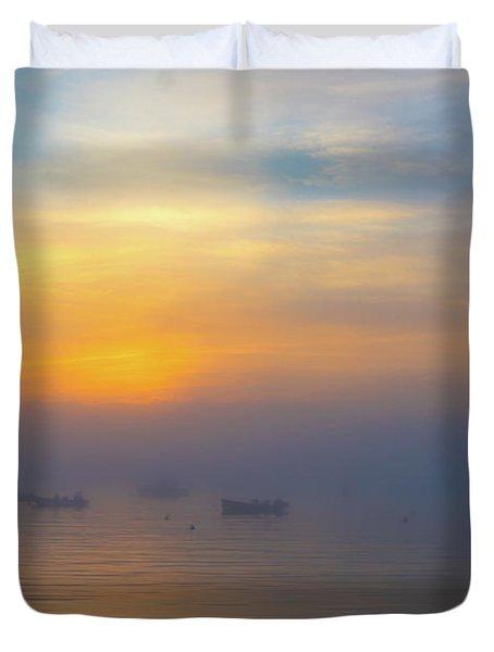 Gloucester Harbor Foggy Sunset Duvet Cover