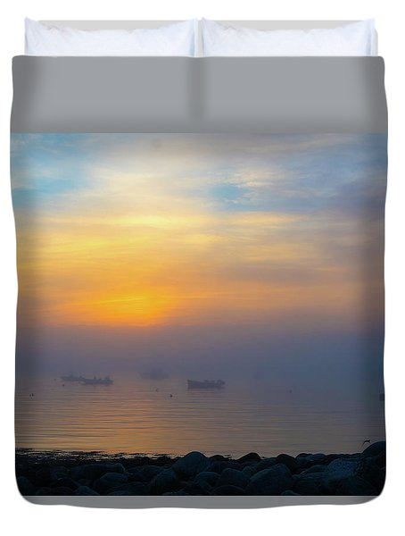 Gloucester Harbor Foggy Sunset Duvet Cover