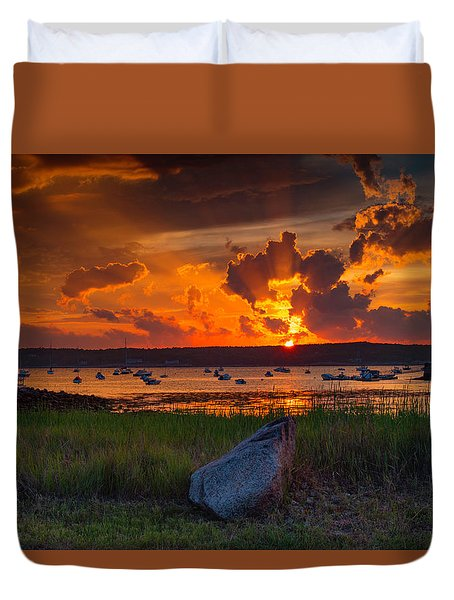 Gloucester Harbor Sunset Duvet Cover