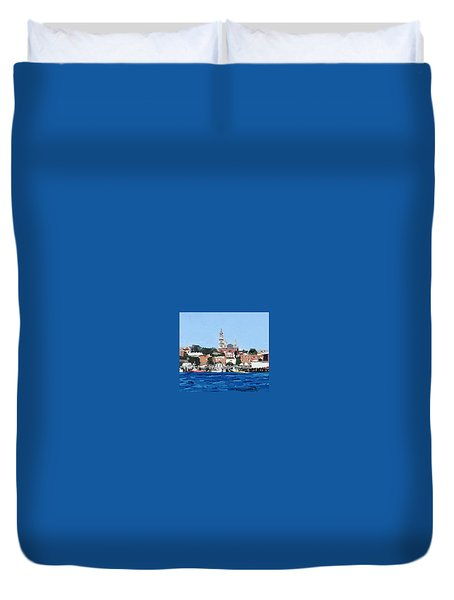 Gloucester, Ma City Hall From Inner Harbor Duvet Cover