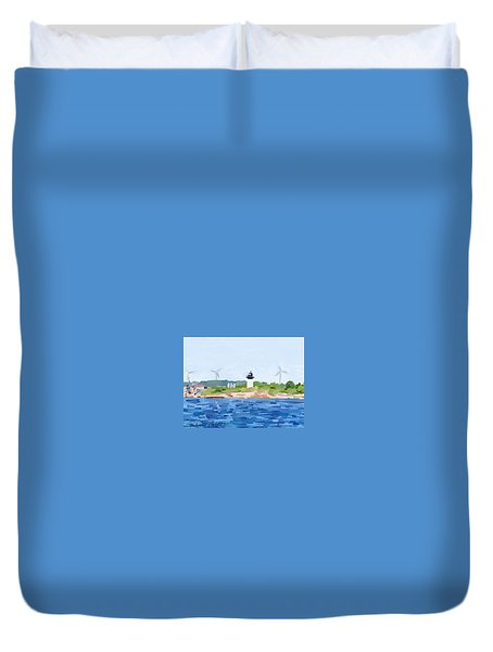 Gloucester Skyline From Harbor With Windmills And Ten Pound Island Lighthouse Duvet Cover by Melissa Abbott