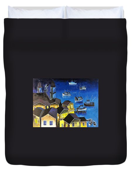 Duvet Cover featuring the painting Glouchester Harbor by Mikhail Zarovny