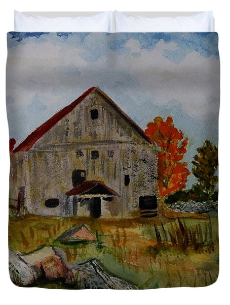Duvet Cover featuring the painting Glover Barn In Autumn by Donna Walsh