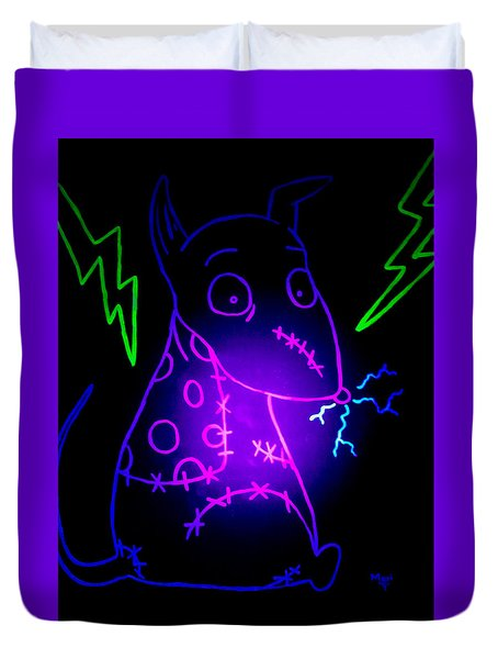 Glow Frankenweenie Sparky Duvet Cover by Marisela Mungia