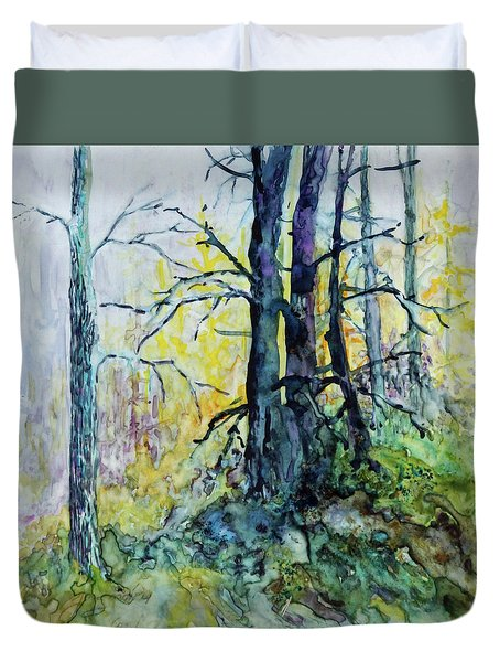 Duvet Cover featuring the painting Glow From The Tamarack by Joanne Smoley