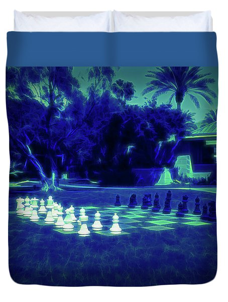 Duvet Cover featuring the photograph Glow In The Dark Chess At The Biltmore by Aimee L Maher Photography and Art Visit ALMGallerydotcom