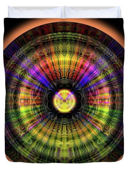 Duvet Cover featuring the digital art Glow Wheel Eight by Visual Artist Frank Bonilla