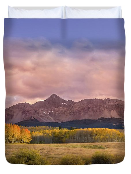Glowing Aspens Below Wilson Peak Duvet Cover
