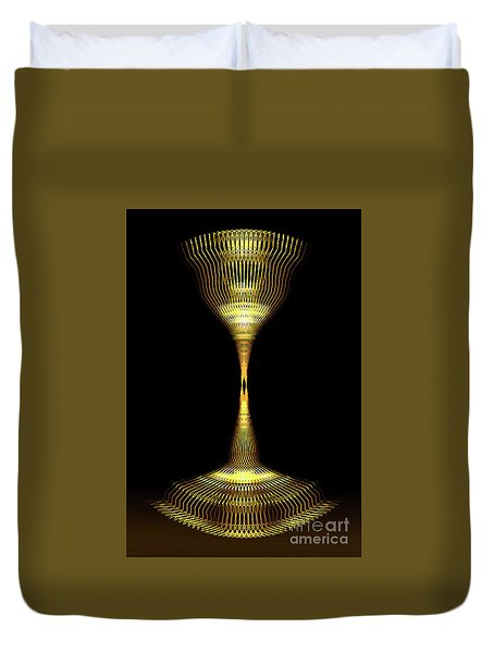 Glowing Brass Lamp Stand Duvet Cover