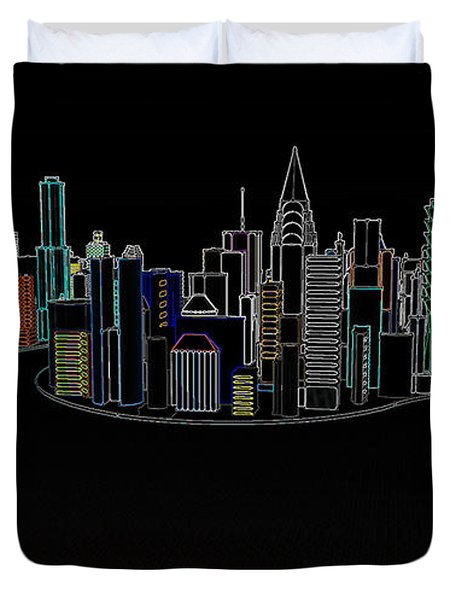 Glowing City Duvet Cover