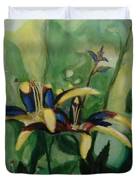 Glowing Flora Duvet Cover