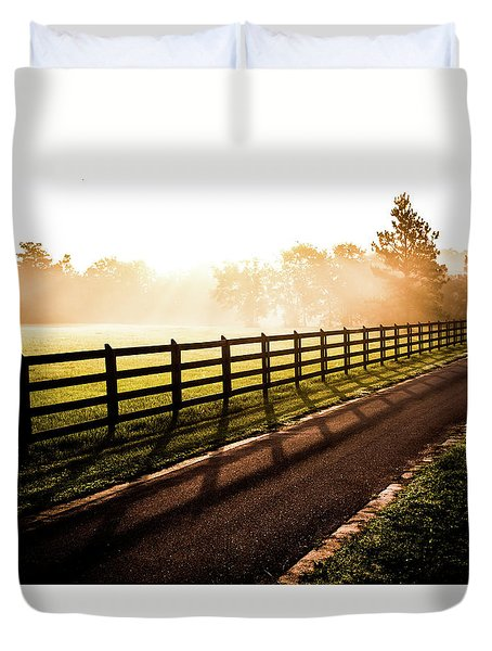Duvet Cover featuring the photograph Glowing Fog At Sunrise by Shelby Young