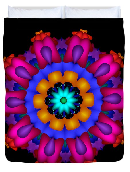 Glowing Fractal Flower Duvet Cover