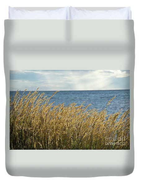 Glowing Grass By The Coast Duvet Cover