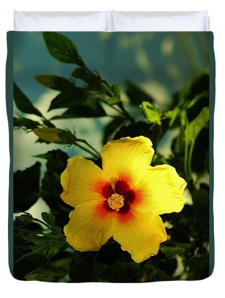 Glowing Hibiscus Duvet Cover