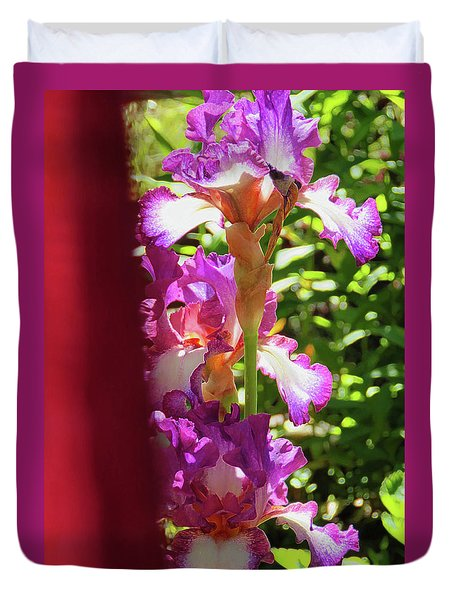 Glowing Iris Tower - Behind The Red Curtain Duvet Cover