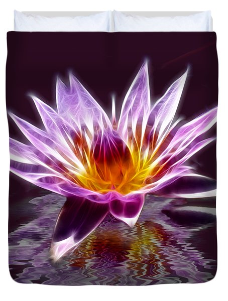 Glowing Lilly Flower Duvet Cover